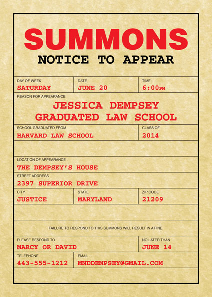 Graduation Law School Subpoena Invitation
