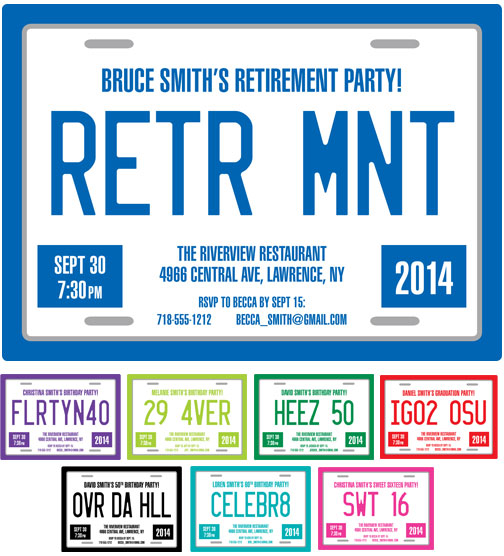 Retirement License Plate Invitation