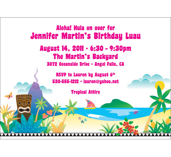 Luau Beach Party Invitation / Warm breezes, cool drinks. Hula on over!