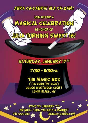 Magic Party Invitation / Magic theme parties make the blues disappear.