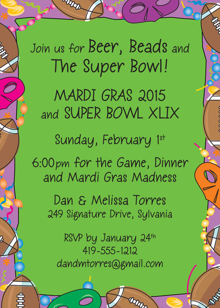 Mardi Gras Super Bowl Invitation / Beer, beads and a bowl game. I'm in!