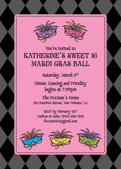 Mardi Gras Masks Invitation / Join the Celebration! Bright colors and mysterious masks. Fun.