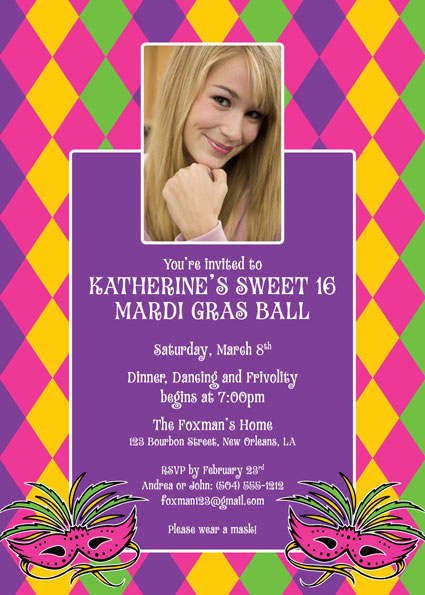 Mardi Gras Party Photo Invitation