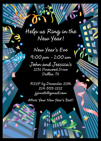 New Years Downtown Party Invitation / Great perspective invitation for a New Year's Eve Party.
