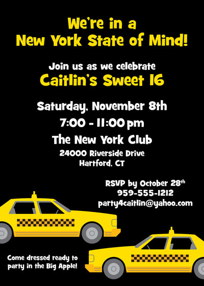 New York Taxis Invitation / Put your guests in a New York state of mind.
