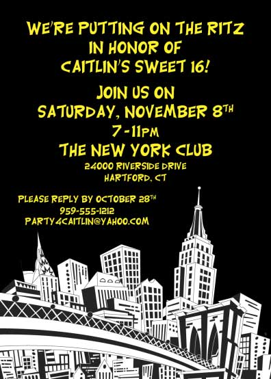 New York Party Invitation / A great invitation for a New York theme party