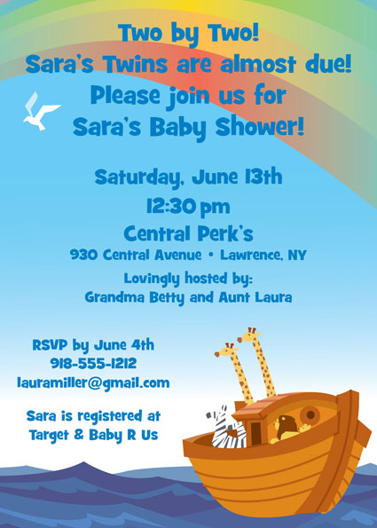 Noahs Ark Baby Shower Invitation / Two by Two, those expecting twins will love this baby shower invitation.