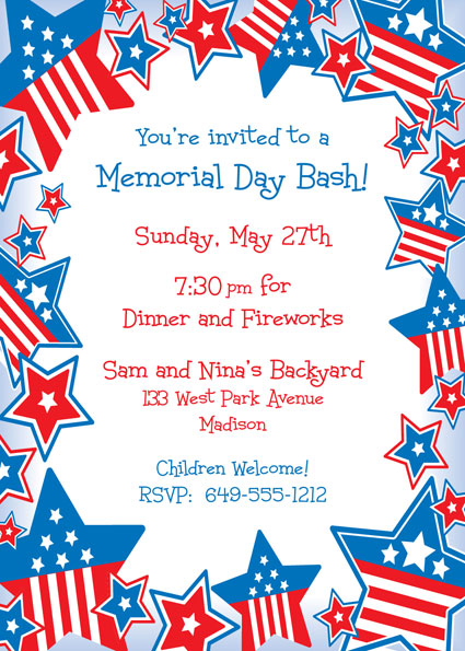 Patriotic Stars Invitation / Time to wear the red, white and blue.
