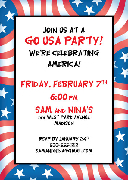Patriotic Flag Party Invitation / Time to celebrate America!
