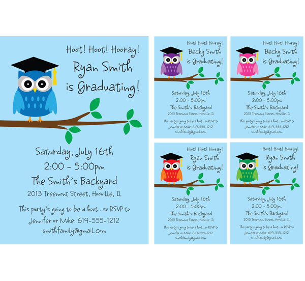 Graduation Owl Invitation / Look who graduated with this owl theme invitation