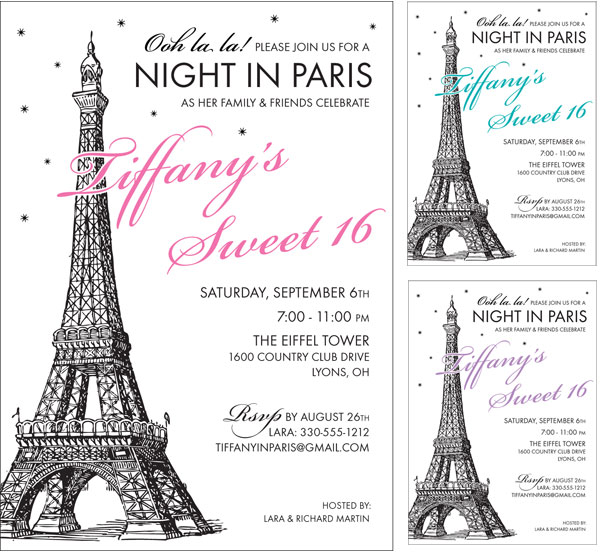 Paris Party Invitation / Choose your colors on this Paris theme invitation