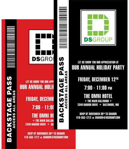 Corporate Party Backstage Pass Invitation / Great VIP passes for a Holiday Party!