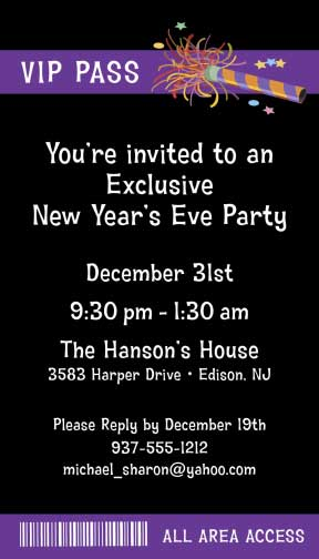 Noisemakers Party Backstage Pass Invitation