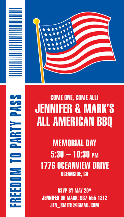 Patriotic Backstage Pass Invitation
