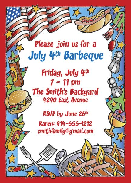 Patriotic Party Barbecue Invitation / Barbecue on July 4th. An American tradition.
