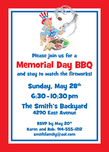 American Patriotic BBQ Party Invitation / Celebrate the holiday with Uncle Sam!