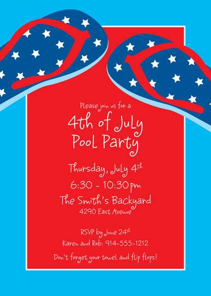 Patriotic Flip Flops Invitation