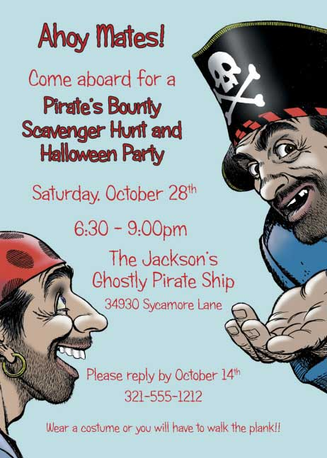 Pirate Party Invitation / Boy's birthday party invitations with a pirate theme will help your party cast off!