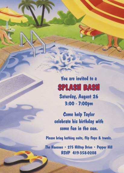 Pool Party Invitation / Pool parties are fun. Have a splash bash!