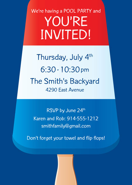 Patriotic Popsicle Invitation