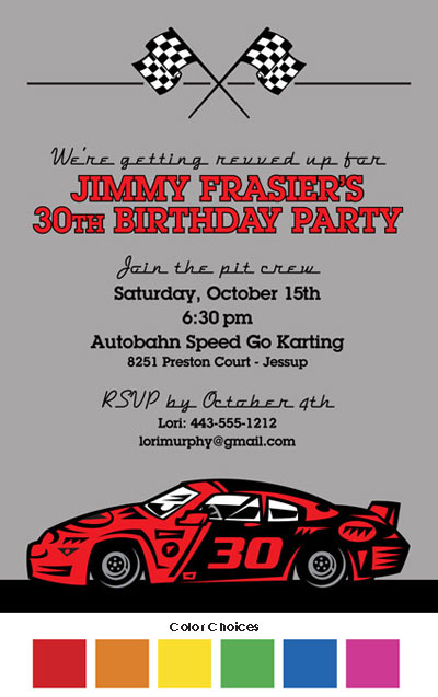 Race Car Party Invitation / Ladies and gentlemen, start your engines!