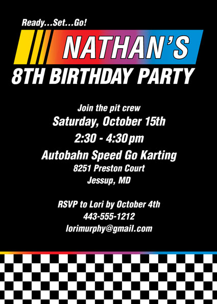 Race Flag Party Invitation
