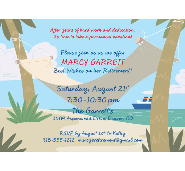 A Retirement Party Invitation / Life's a beach! Retirement party invitation.
