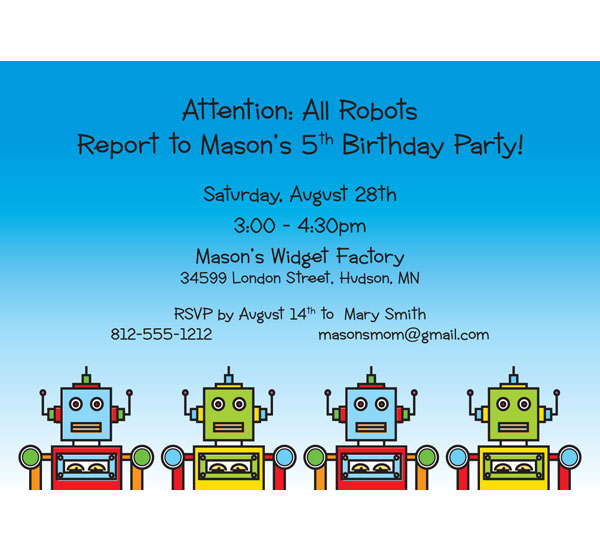 Robot Kids Theme Birthday Invitation