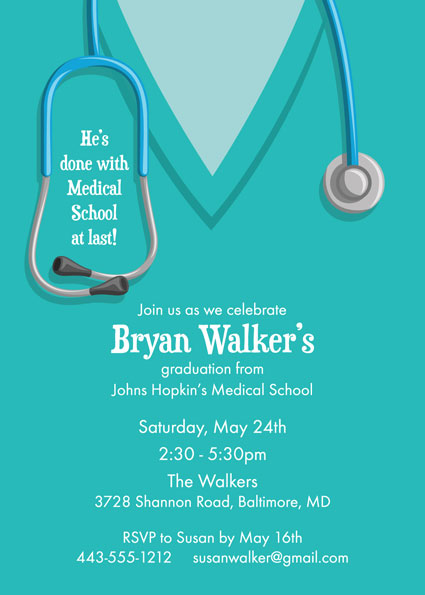 Graduation Medical School Custom – Medical School Graduation Invitation