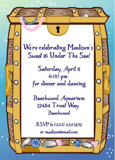 Under The Sea Treasure Party Invitation / Davy Jones' locker is full of surprises.