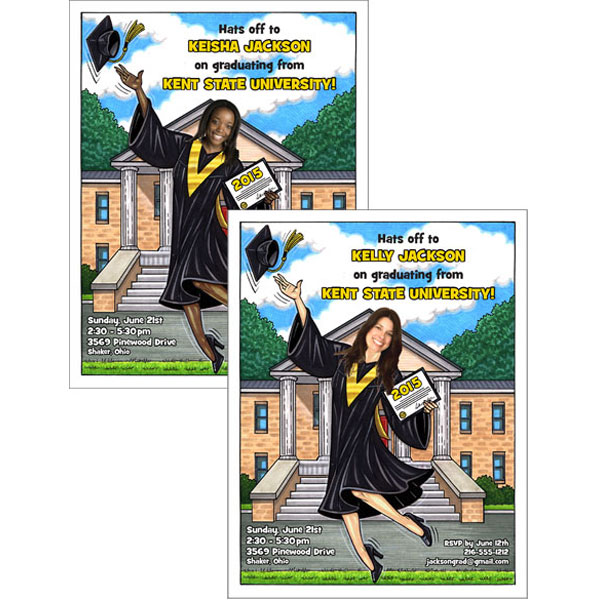 "A Graduation ""Add a Face"" Invitation or Announcement, Female / Add your face to this one of a kind caricature invitation"