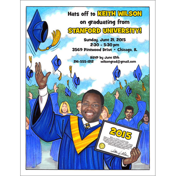 "A Graduation ""Add a Face"" Invitation or Announcement, Male / Add your face to this one of a kind caricature invitation or graduation announcement"