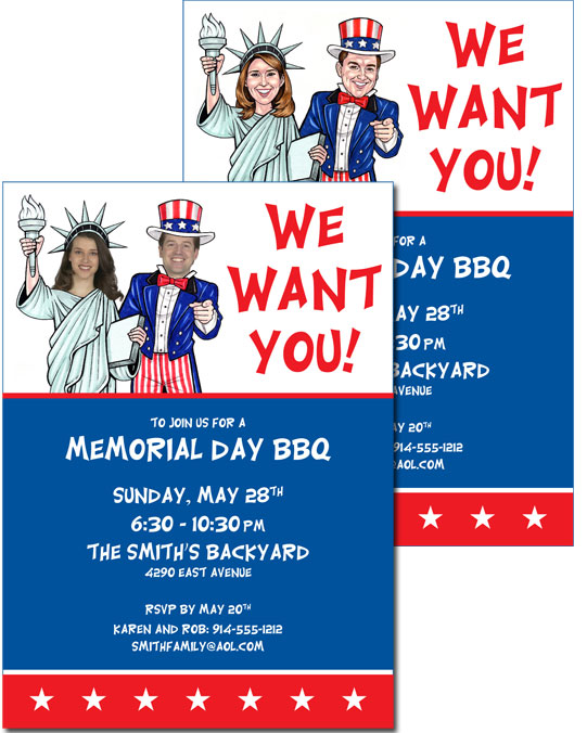 A Patriotic &amp;quot;Add a Face&amp;quot; Invitation / Personalize this Patriotic Party Invitation with your photo.