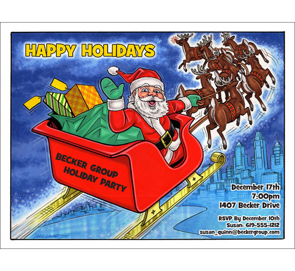 Christmas Caricature Invitation or Holiday Card, Santa / Perfect for a corporate holiday card or invitation