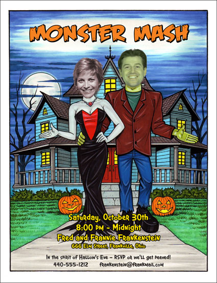 "Halloween ""Add a Face"" Invitation, Frankenstein Couple / Personalize this Halloween Party Invitation with your photo."