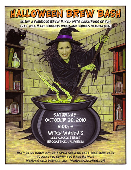 "Halloween ""Add a Face"" Invitation, Witch"