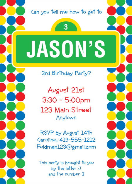 Birthday Sesame Street Invitation / A fun Sesame Street inspired invitation.