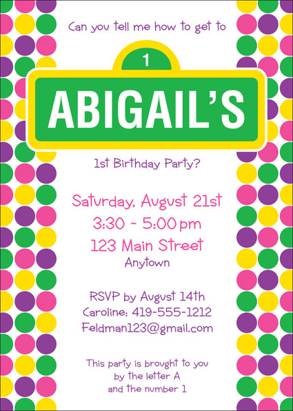 Birthday Sesame Street Pink Invitation