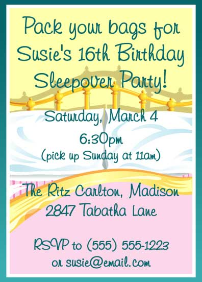 Sleepover Invitation / A more whimsical approach to a sleepover.