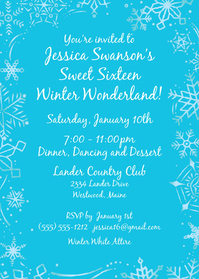 Snow Party Theme Invitation / This personalize it card is perfect for your Winter Wonderland Holiday Party.