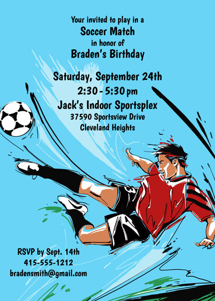 Soccer Boy Invitation / This one captures the excitement of soccer (and your party).