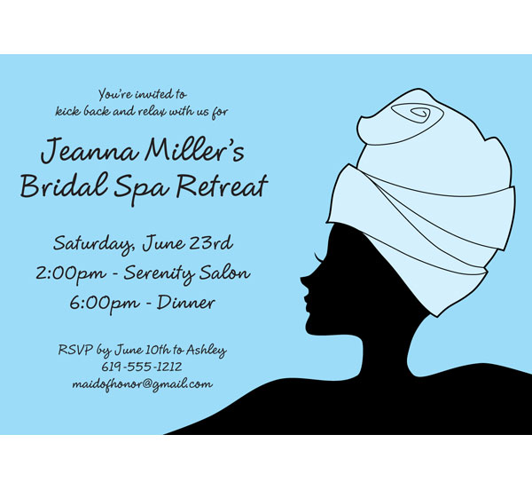 Bridal Spa Invitation / Host a bridal shower spa