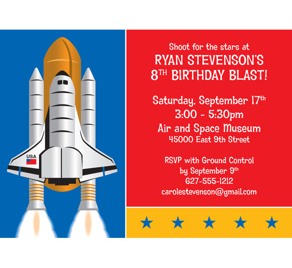 Space Party Theme Invitation