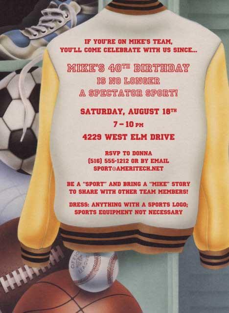 Sports Theme Party Invitation