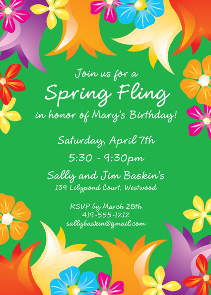 Bright Spring Flowers Invitation