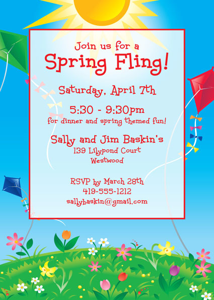 Flying Kites Invitation / Flying kites, what better way to celebrate spring than with these Spring Themed Invitations.
