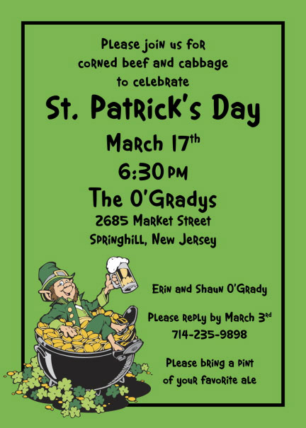 St. Patricks Day Leprechaun Party Invitation / Send your guests a leprechan with this St. Patrick's Day party Invitation.