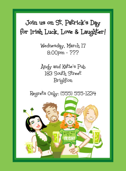 St. Patricks Day Pub Invitation / St. Patrick's Day Party invitation that sends Irish luck, love and laughter.
