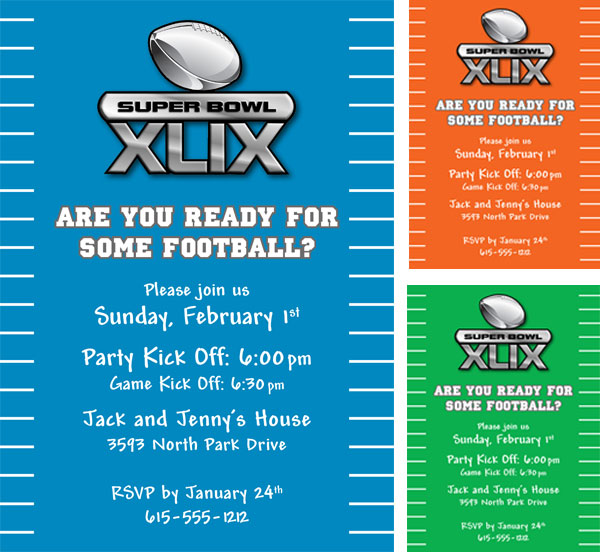 2015 Super Bowl XLIX Invitation / Perfect for Super Bowl XLIX!