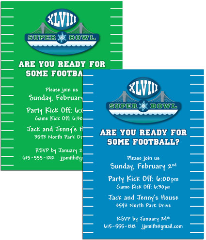 2014 Super Bowl XLVIII Invitation / Perfect for Super Bowl XLVIII!